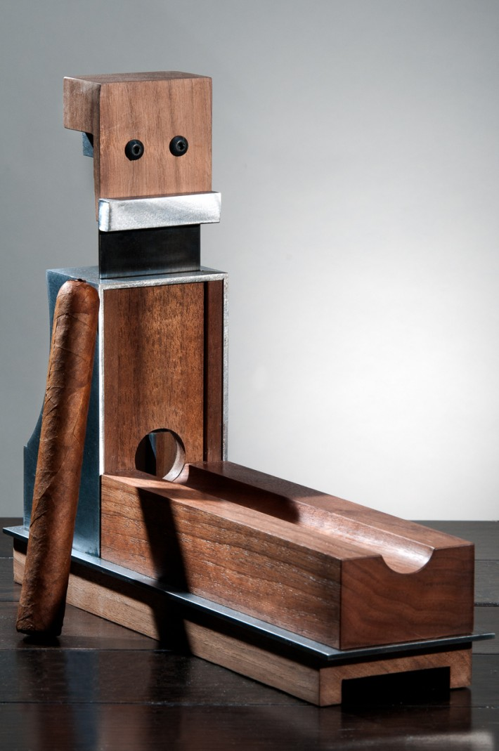 One of the many custom cigar accessories made by Pepperbox, this table-top cigar cutter makes a statement.