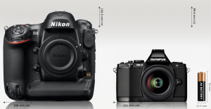 CameraSize.com - Nikon D4 and the Olympus OM-D E-M5