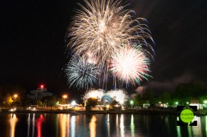 Canada Day Fireworks over Ontario Place in Toronto