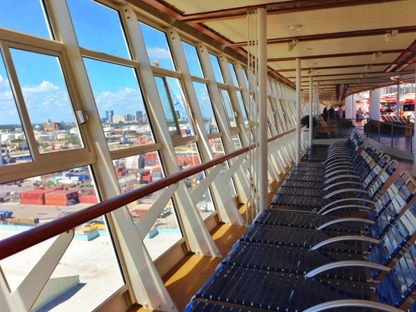 Whether for lounging, reading, napping or just looking down on water and citiscapes, Deck 15 offers lots of lounge chairs on the Royal Caribbean Allure of the Seas