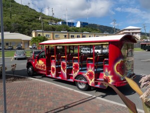 An open-air taxi takes visitors from the cruise terminal to all points on St. Thomas in the US Virgin Island