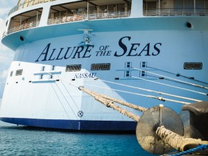 Lines tie down the Royal Caribbean Allure of the Seas while at port in Sint Maarten