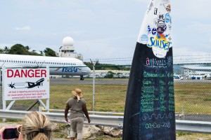 The Arrivals Board at the Sunset Bar and Grill on the south end of Maho Beach - a great place to watch the planes come and go from Princess Juliana Airport on Sint Maarten