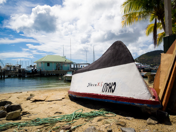 A row boat waits for its skipper on the beach in Philipsburg, St. Maarten