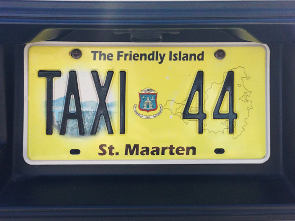 A license plate from a taxi in St. Maarten - the Friendly Island