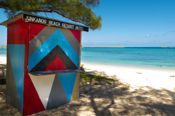 A colorful shack sits on Junkanoo Beach in Nassau