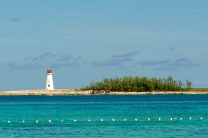 A Lighthouse sits at the western-most point of Paradise Island - also known as Hog Island which forms a natural harbor for Nassau