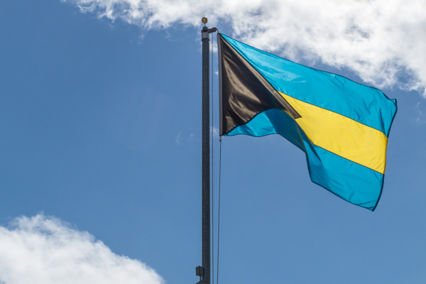The Bahamian Flag flies over Nassau