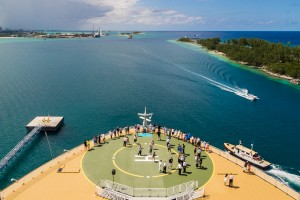 The Royal Caribbean Allure of the Seas features a helicopter Landing Pad in case of emergencies