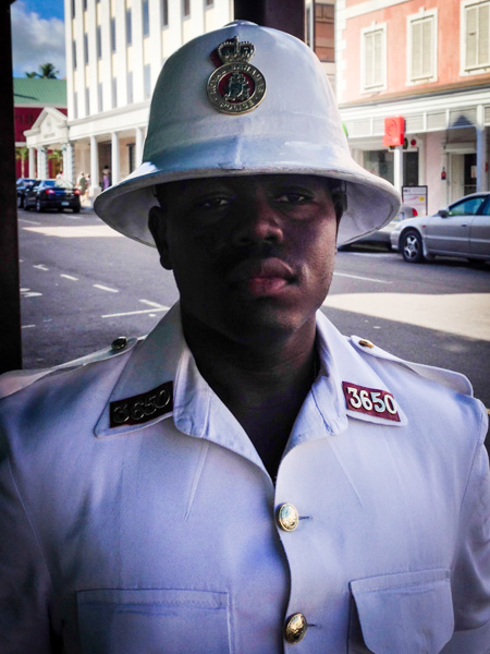 The Bahamian police uniform features some old-timey charm