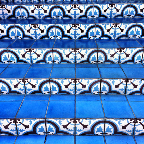 Beautiful encaustic tiles adorn the steps of the John Watling's rum distillery in Nassau