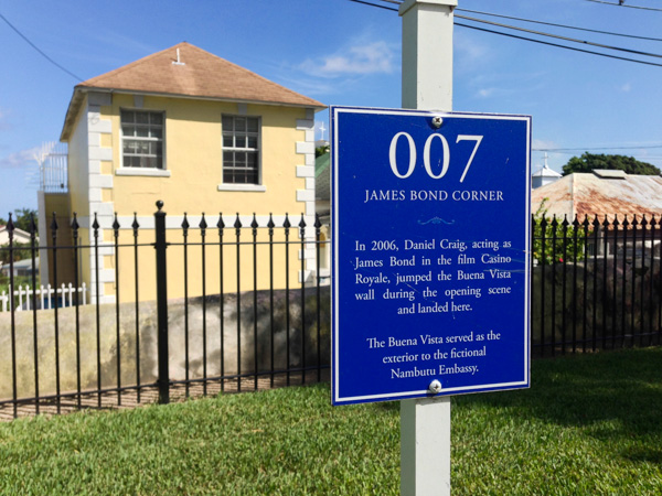 A marker stands where James Bond leaped over a wall at the Buena Vista Estate, home to the John Watling's Rum Distillery