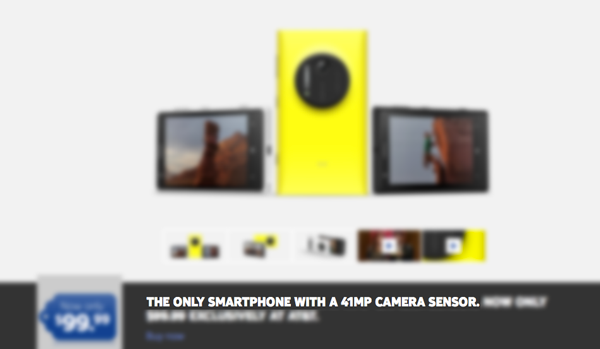 Ad for a Nokia Lumia 1020 with the megapixel count highlighted as the primary feature