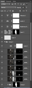 All the layers including adjustments for the final image