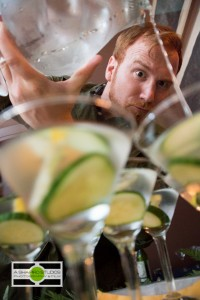 Hendrick's Gin Ambassador Mark Stoddard pours a martini using Kanaracuni - a Limited Edition gin from the makers of Hendrick's. ©2014 Ari Shapiro - AShapiroStudios