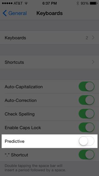 iOS 8 Quick Tip - Making Predictive Text Go Away.  ©2014 Ari Shaprio - AShapiro Studios