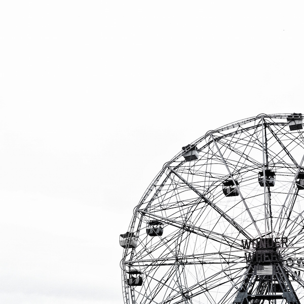 This Fine Art Black and White Print of The Wonder Wheel at New York City's Coney Island showcases the ride's dominance over the park.