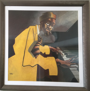 "Justin Bua framed art print - Piano Man. Antique finished wood frame with white matte. Measures 27"" square. $50"