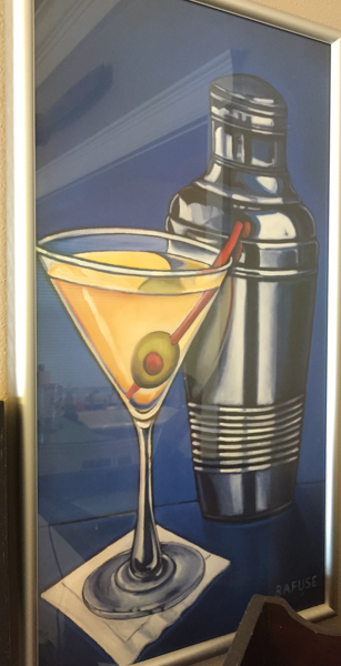 "Will Rafuse framed art print - Martini.  Silver metal frame with wall mount. Measures 12.5""w x 22.5""h $30"