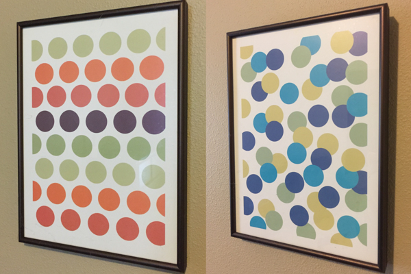 "Framed art prints - Dots.  Rose aluminum frames - Sold as a set. Each measures 11.75""h x 8.75""w $25"