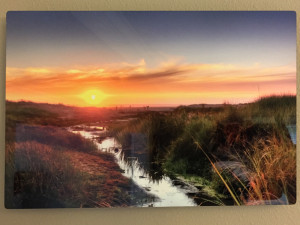 """""""Seashore"""" - Photo by Ari Shapiro. Metal Print with wall hook, 1/2"""" Standout from wall. Measures 12""""w x 8""""h. $25"""