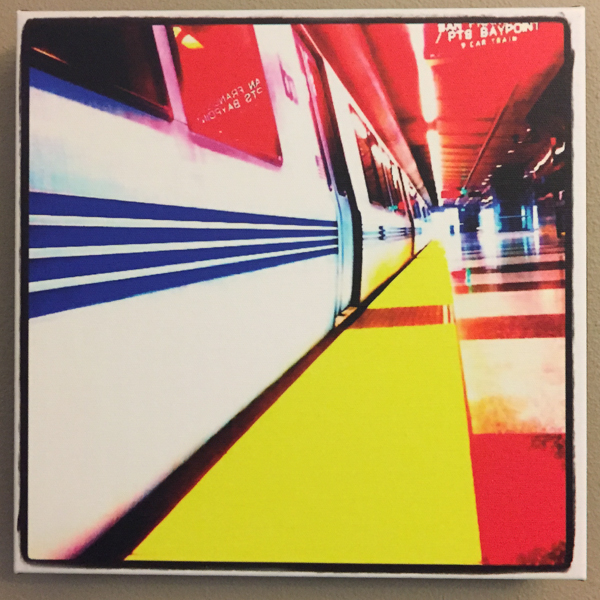 """Train To The Bay"" - Photo by Ari Shapiro.  Canvas Print with wall hook, 1.5"" Standout from wall. Measures 12"" square. $15"
