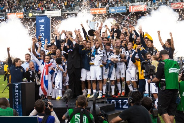 The LA Galaxy on the podium after winning the MLS Championship in 2012, which would also be David Beckham's last match with the club.  Event Photography by Ari Shapiro - AShapiroStudios.com