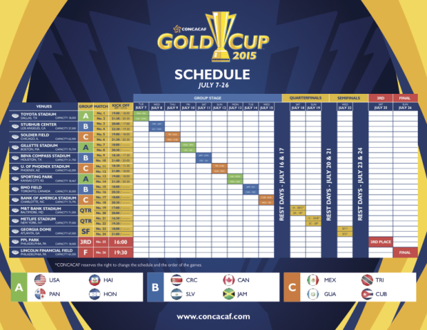CONCACAF Gold Cup 2015 Match Schedule