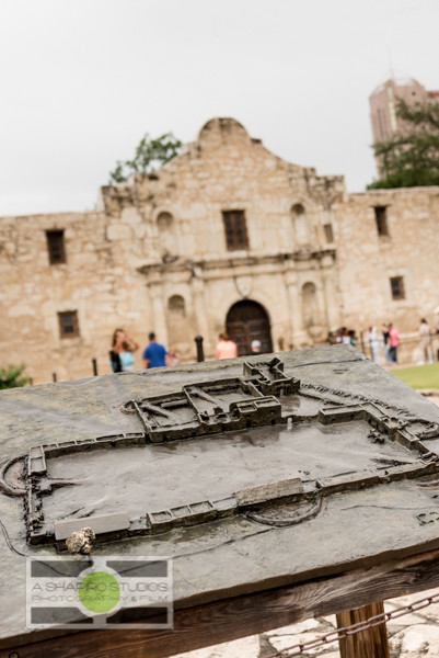 A well-worn copper plaque outside The Shrine shows the layout of The Alamo as it was in 1836, including The Shrine in the background.  Travel Photography ©2015 Ari Shapiro - AShapiroStudios.com