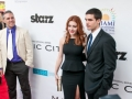 """MIAMI BEACH, FL - Elena Satine and Steven Strait, Judy Silver and Stevie Evans on the new Starz original series """"Magic City,"""" are joined by Miami International Film Festival Executive Director Jaie Laplante on the red carpet at the world premiere of their new show.  """"Magic City"""" will begin airing in April."""