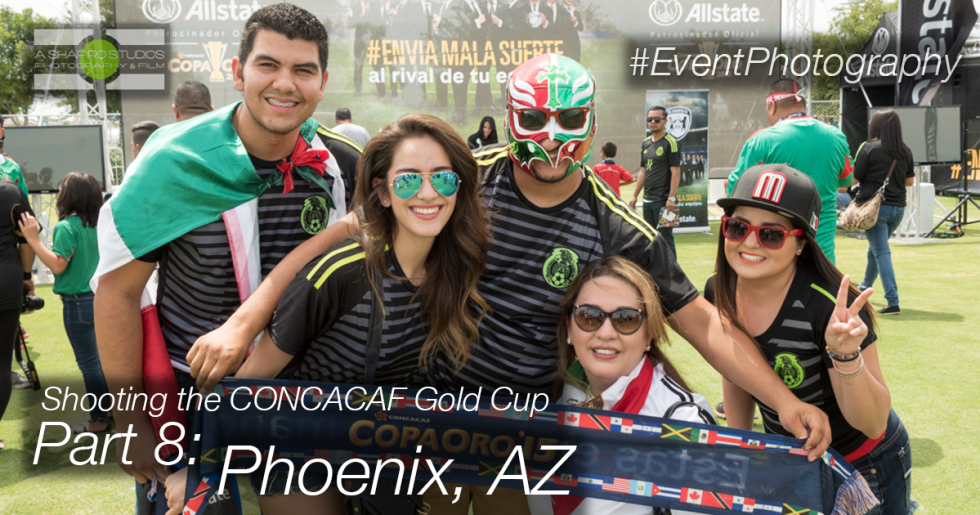 Soccer fans braved the heat of Phoenix to support their team in Group Stage CONCACAF Gold Cup play, and enjoy a pre-match Fan Village with Allstate. Phoenix Corporate Event Photography ©2015 Ari Shapiro - AShapiroStudios.com
