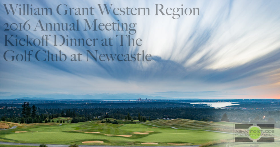 Managers from William Grant's Western Division along with senior company leadership, distributor partners and brand ambassadors joined at the Newcastle Golf Club outside Seattle for a kick-off dinner prior to company meetings in early July, 2016. Along with custom cocktails using the company's brands, the group enjoyed spectacular views and comradery. Seattle Corporate Event Photography ©2016 Ari Shapiro - AShapiroStudios.com